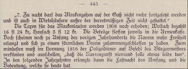 Auszug aus der Stadtchronik von Franz Disch aus dem Jahre 1920