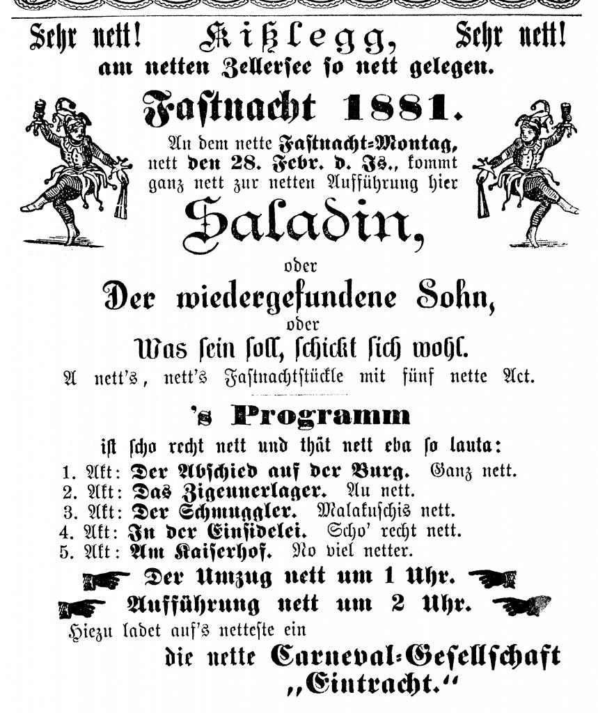 """Fasnetsspiel-Plakat """"Saladin"""" von 1881"""